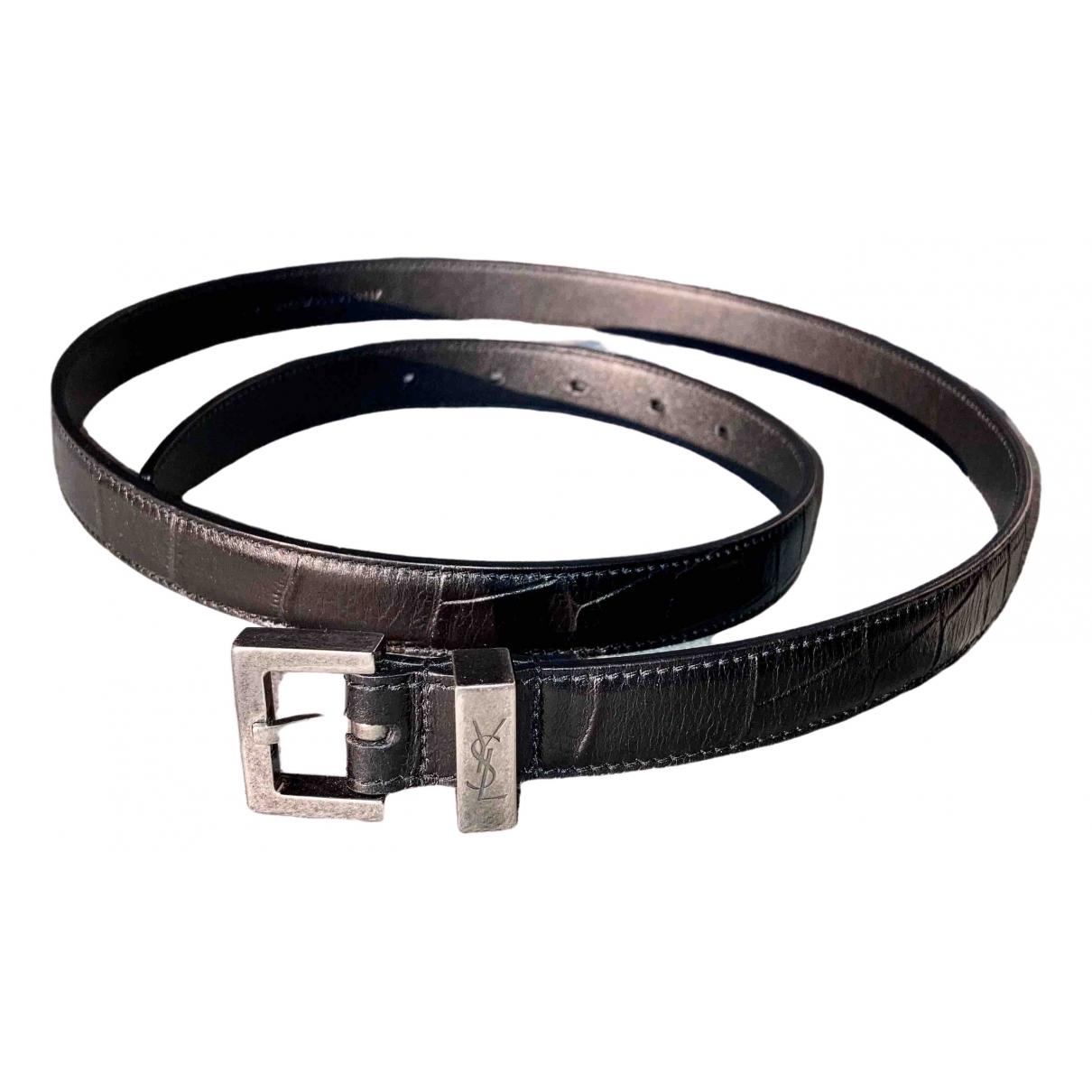 Saint Laurent \N Black Leather belt for Women 90 cm