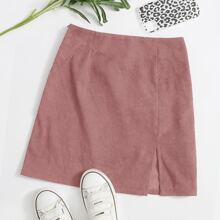 Falda de pana bajo con abertura con cremallera lateral