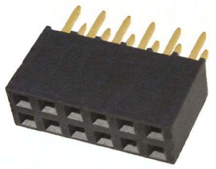 Samtec , SSQ 2.54mm Pitch 12 Way 2 Row Straight PCB Socket, Through Hole, Solder Termination