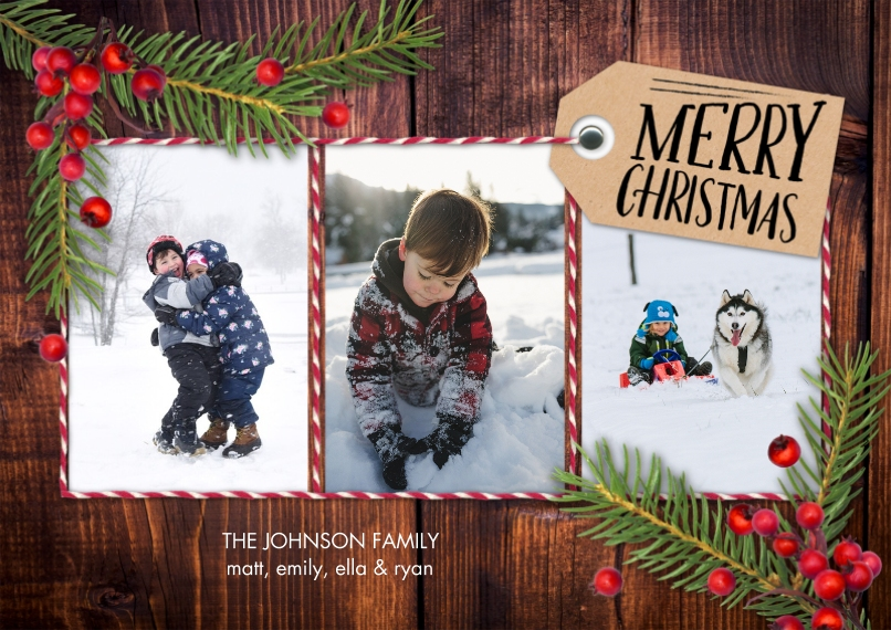 Christmas Photo Cards 5x7 Cards, Standard Cardstock 85lb, Card & Stationery -Christmas Pine Berries