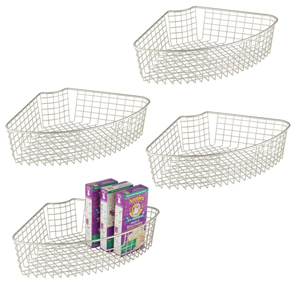 Metal Lazy Susan Kitchen Food Storage Basket - 1/4 Round in Satin, 17