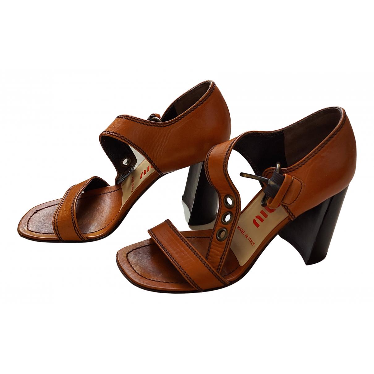 Miu Miu - Sandales   pour femme en cuir - marron