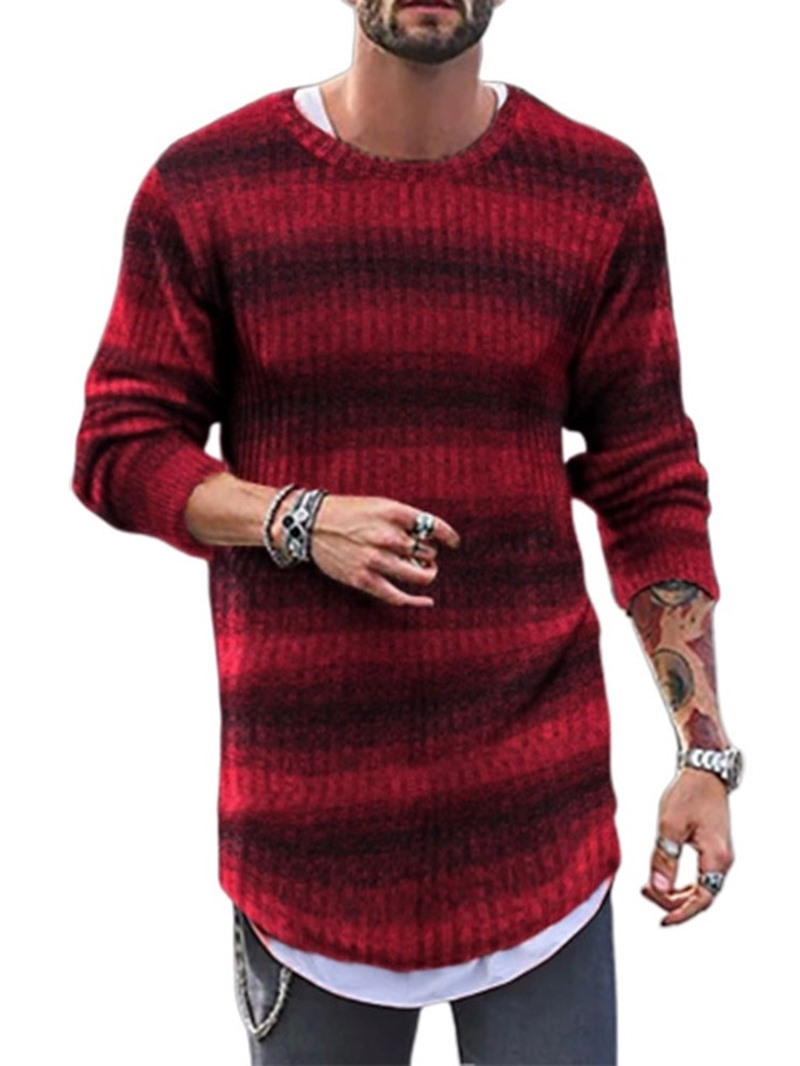 Ericdress Stripe Mid-Length Round Neck Casual Loose Men's Sweater