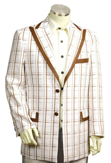 2 Button White Coffee Pinstripe Zoot Suit  Mens