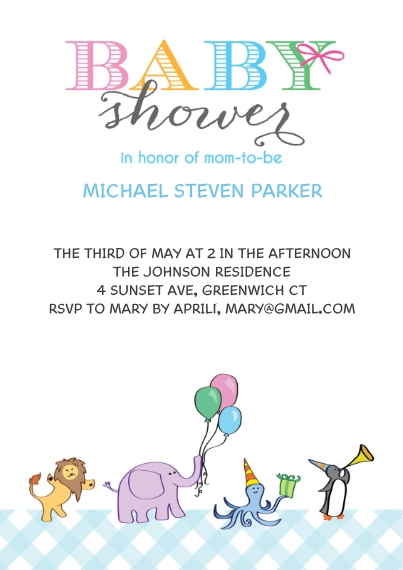 Baby Shower Invitations 5x7 Cards, Premium Cardstock 120lb, Card & Stationery -Baby Shower Animals