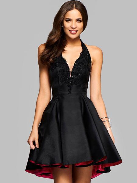 Milanoo Vestido plisado de poliester negro con cuello profundo sin mangas Color liso de encaje estilo moderno