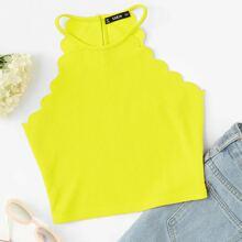 Neon Gelb Top mit Muschel und Neckholder