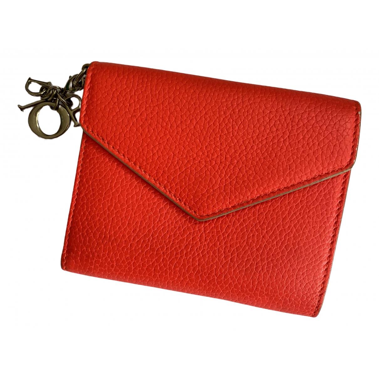 Dior \N Orange Leather wallet for Women \N