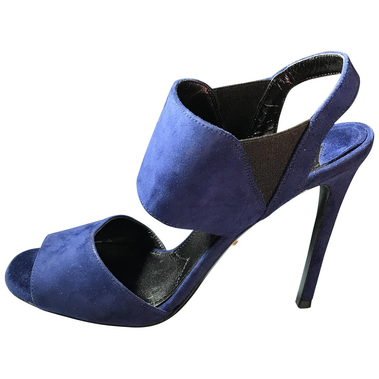 Prada - Sandales   pour femme en suede - bleu
