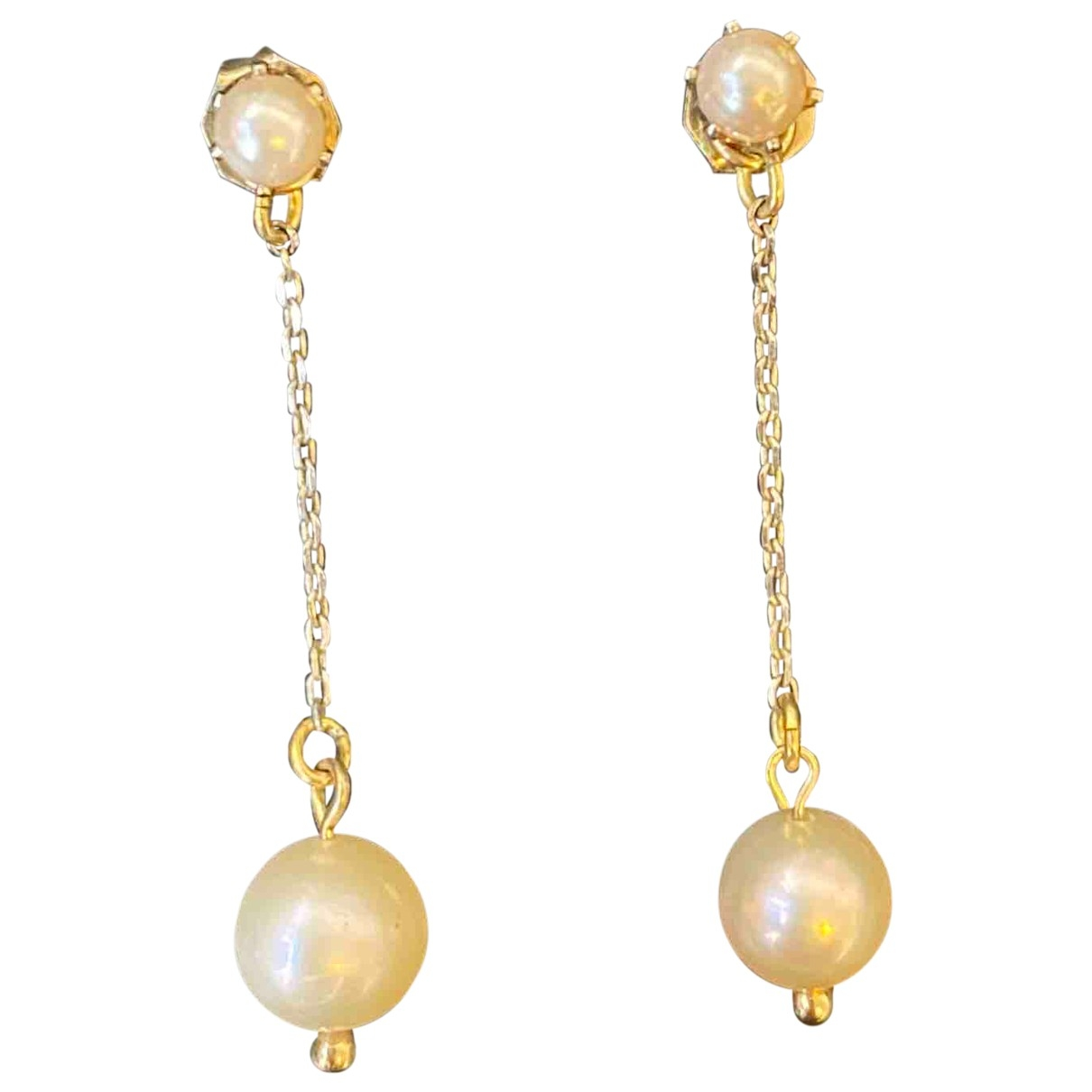 Non Signe / Unsigned Nacre OhrRing in  Gold Perle