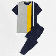 Guys Cut And Sew Top & Sweatpants Set
