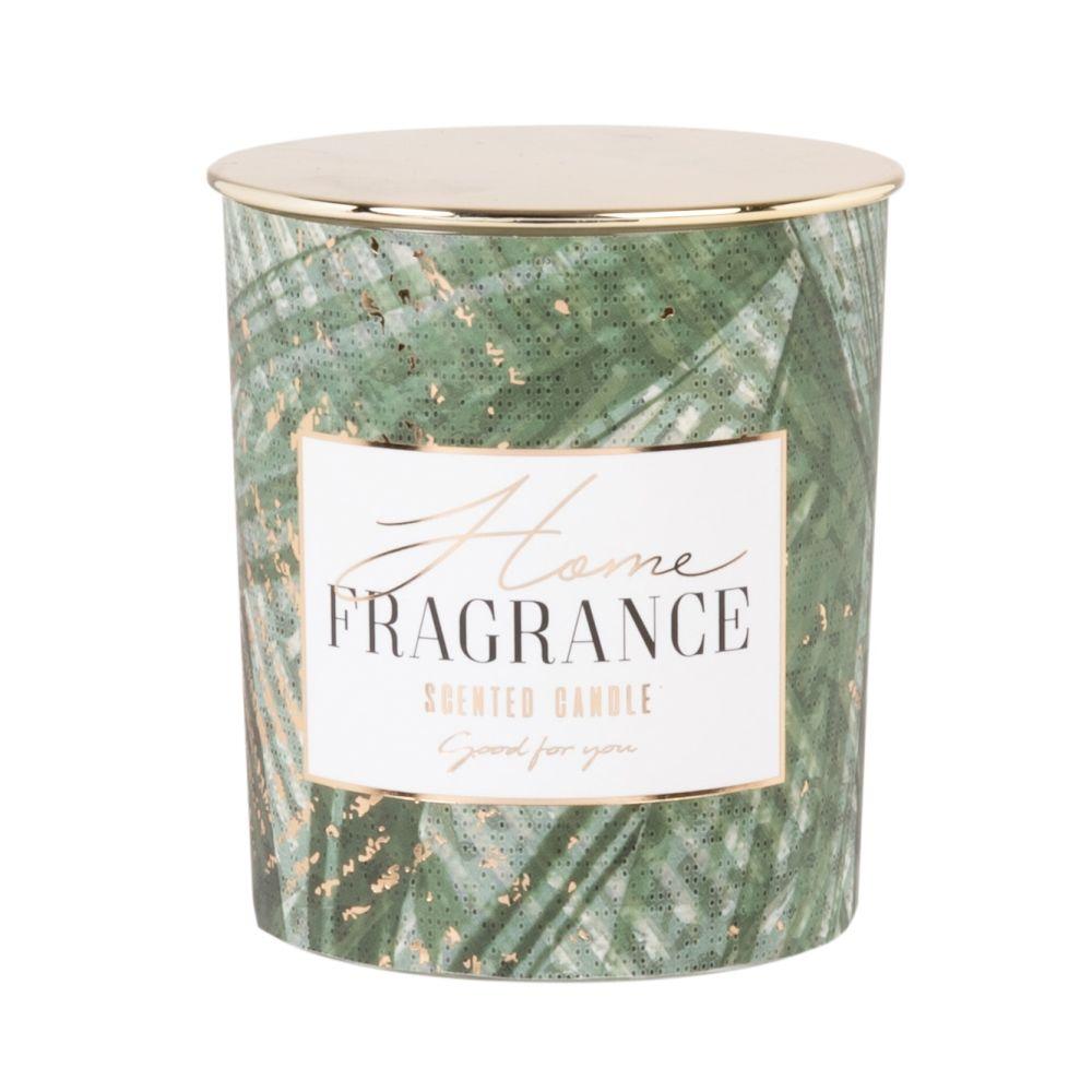 Duftkerze im gruen und golden getonten Glasgefaess