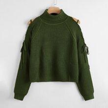 Pullover mit Stehkragen und Band auf Schulter