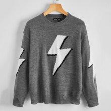 Pullover mit sehr tief angesetzter Schulterpartie und Blitz Muster