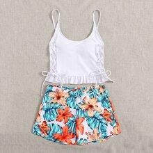 Bikini Badeanzug mit tropischem & Blumen Muster, Rueschen und Band