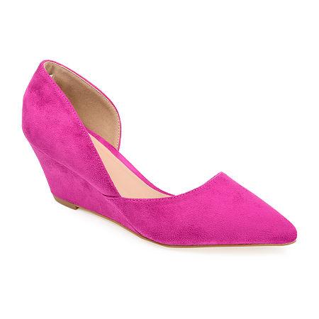 Journee Collection Womens Lenox Pumps Wedge Heel, 7 Medium, Purple