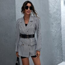 Double Button Gingham Longline Blazer Without Belt