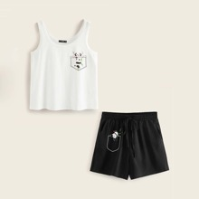 Tank Top mit Karikatur Grafik & Shorts Set