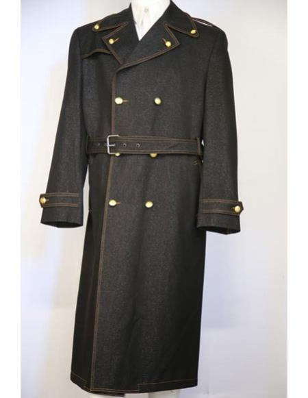 Mens Black stylish trench collar Double Breasted denim long zoot suit