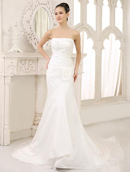 Milanoo Ivory Mermaid Strapless Flower Sweep Wedding Dress For Bride