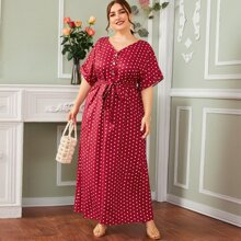 Plus Button Front Self Belted Polka Dot Dress