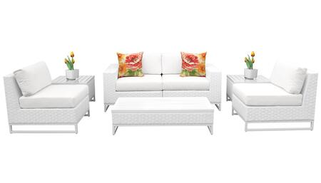 Miami MIAMI-07e 7-Piece Wicker Patio Furniture Set 07e with 2 Armless Chairs  2 End Tables  1 Coffee Table  1 Left Arm Chair and 1 Right Arm Chair -