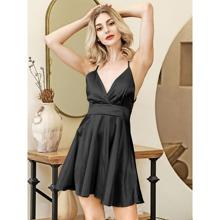 Vestidos Cruzado Liso Negro Glamour