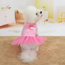 Contrast Mesh Striped Dog Dress
