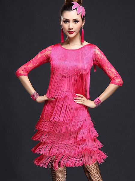 Milanoo Dance Costumes Latin Dancer Dresses Red Fringe Nylon Dancing Clothes for Women Halloween