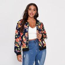 Jacke mit Blumen Muster und Reissverschluss