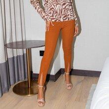 Einfarbige Leggings mit Schlitz