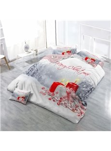 Merry Christmas Candles Wear-resistant Breathable High Quality 60s Cotton 4-Piece 3D Bedding Sets