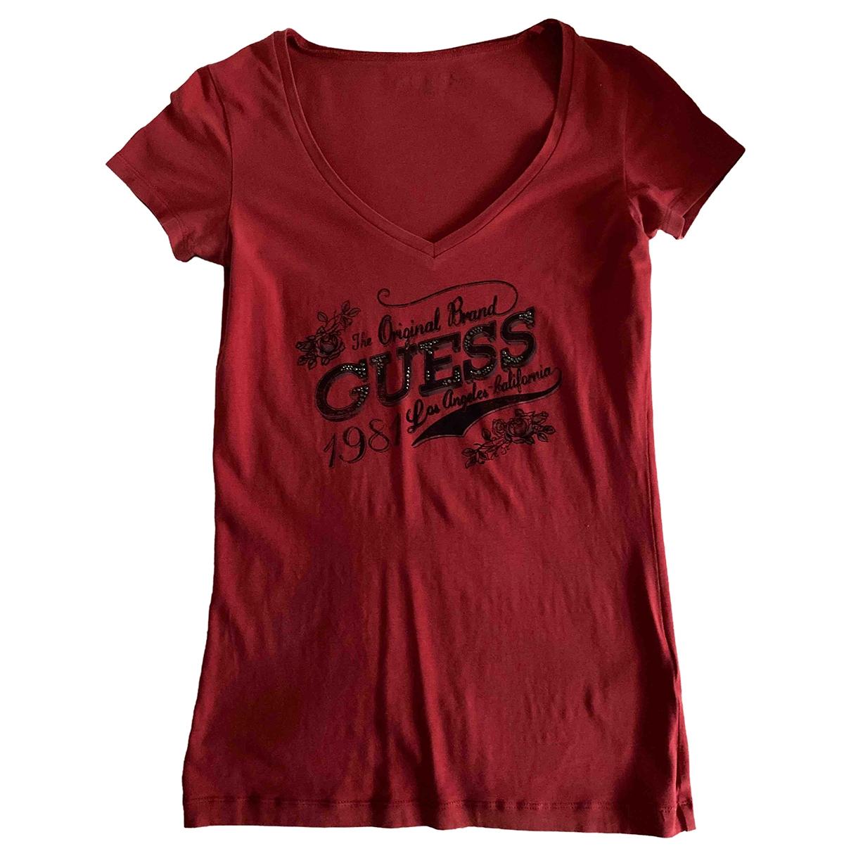 Guess - Top   pour femme en coton - rouge