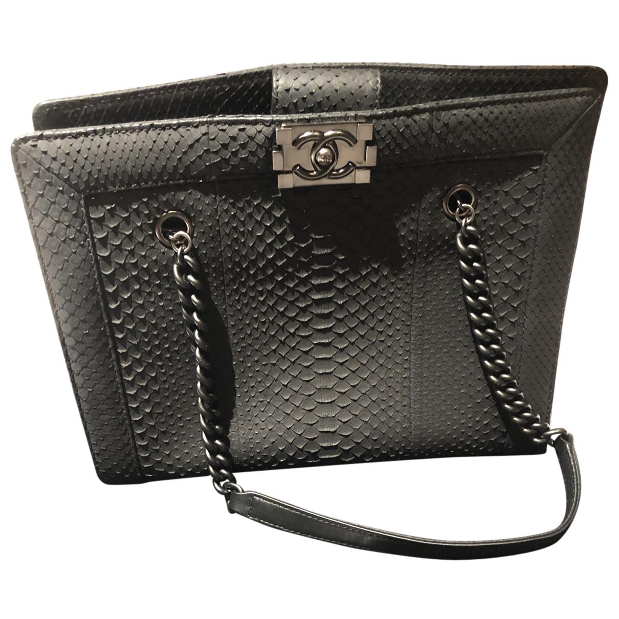 Chanel Boy Black Python handbag for Women N