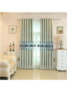 European and Elegant Chenille Light Green Embroidered Custom Living Room Grommet Curtain