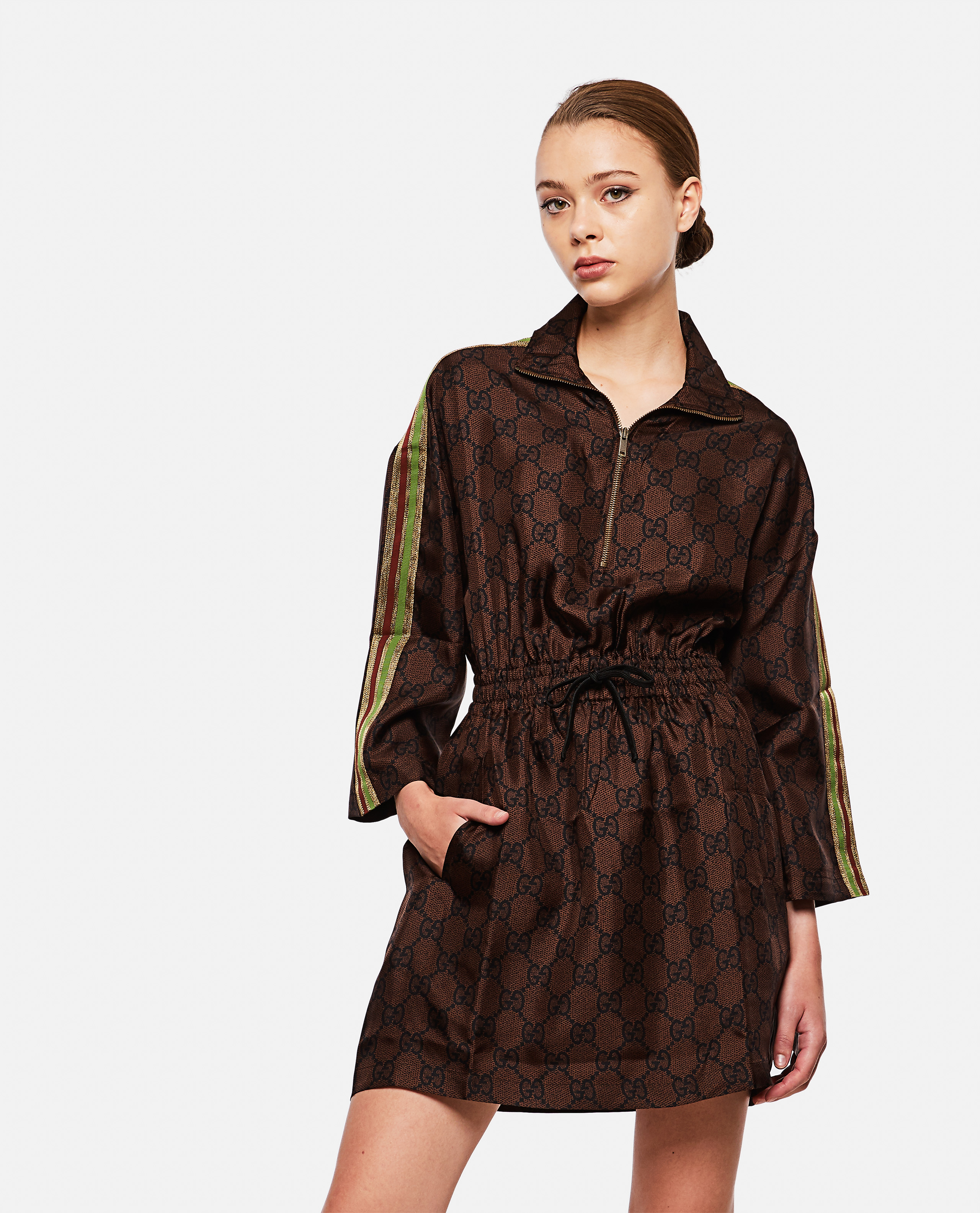 Silk dress with GG Supreme print