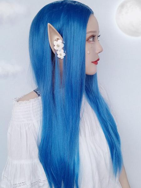 Milanoo Pelucas de Lolita Pelucas de cabello largo y profundo con separacion central azul Lolita