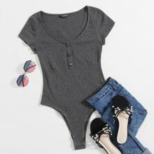 Buttoned Front Rib-knit Bodysuit