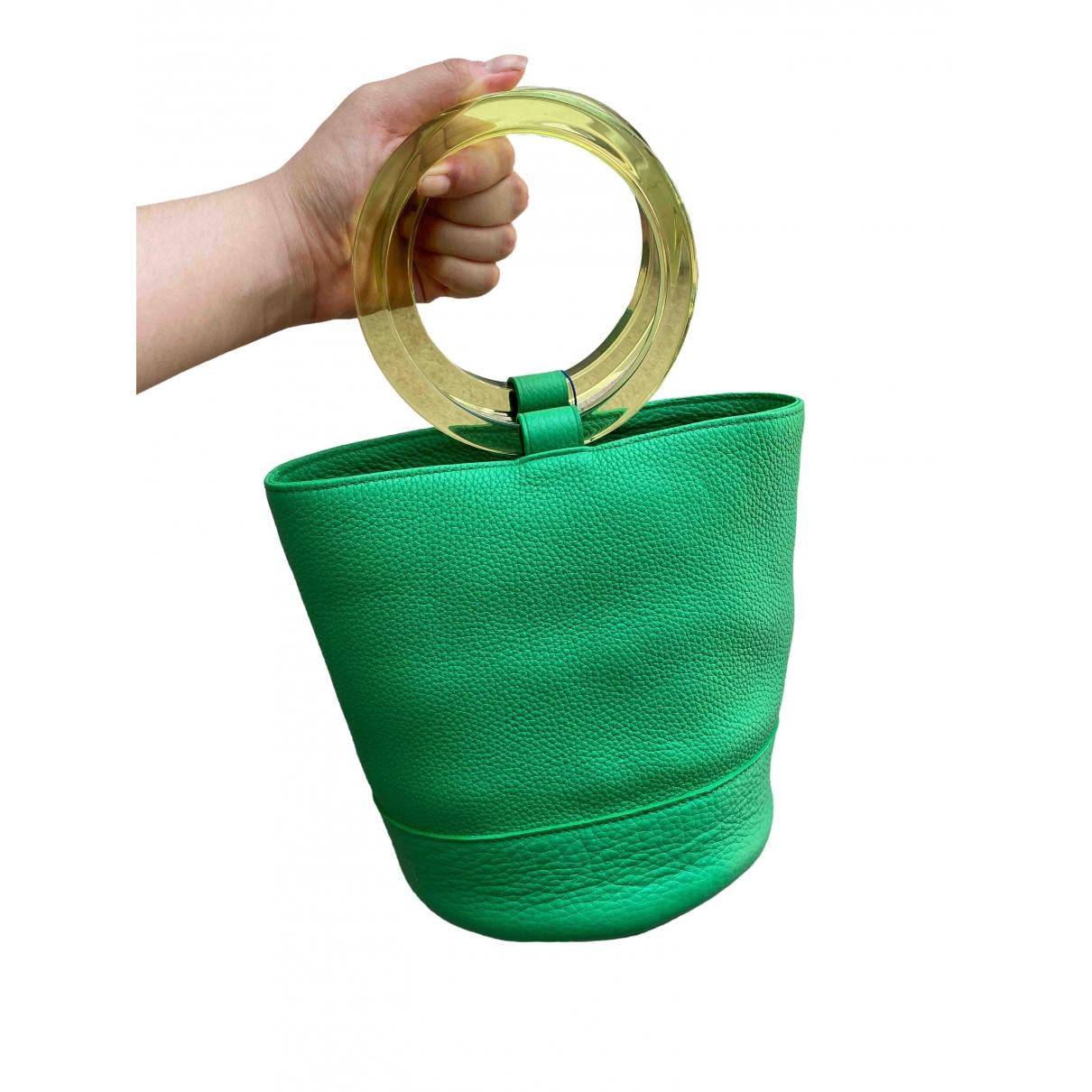 Simon Miller Medium Bonsai Handtasche in  Gruen Leder