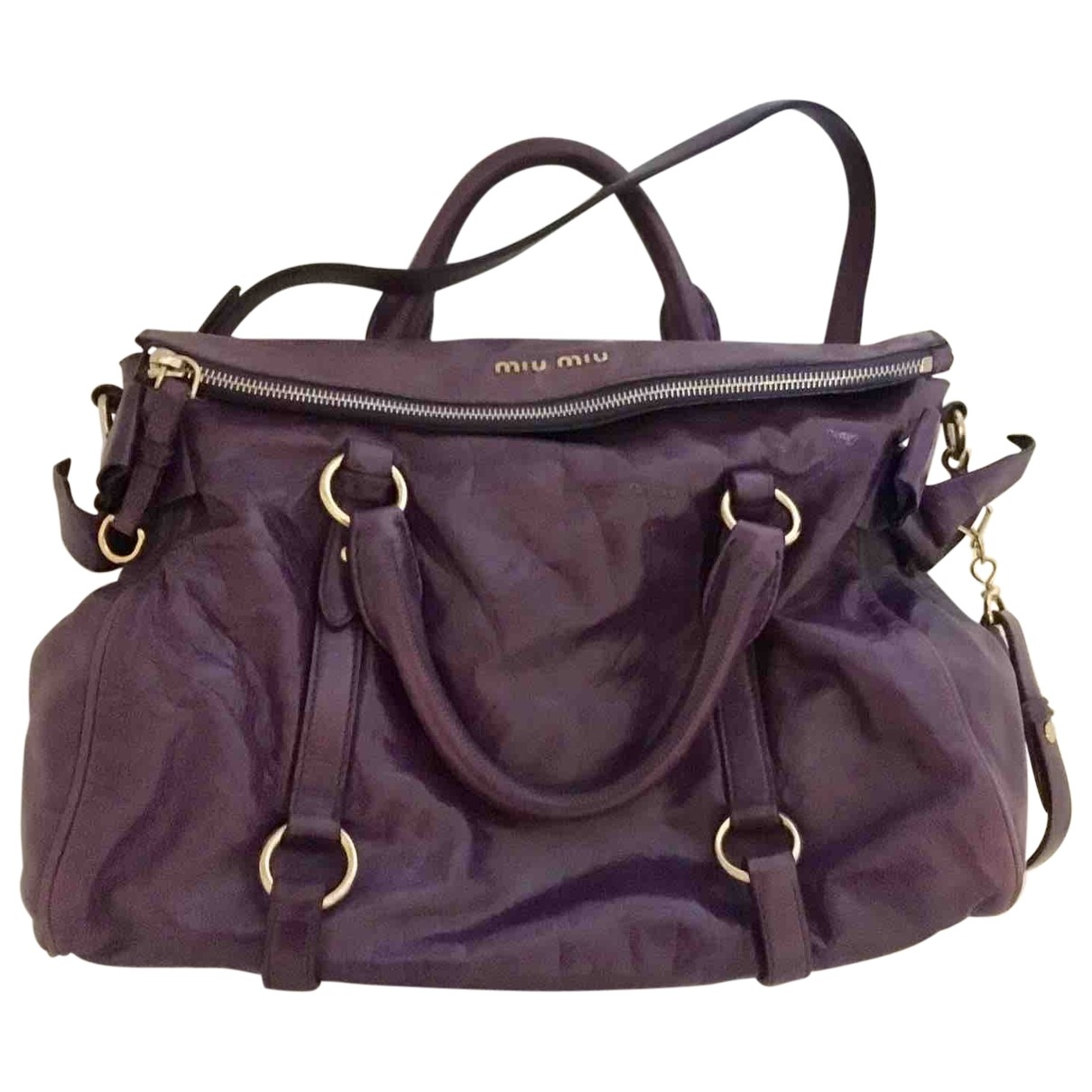 Miu Miu Bow bag Purple Leather handbag for Women \N