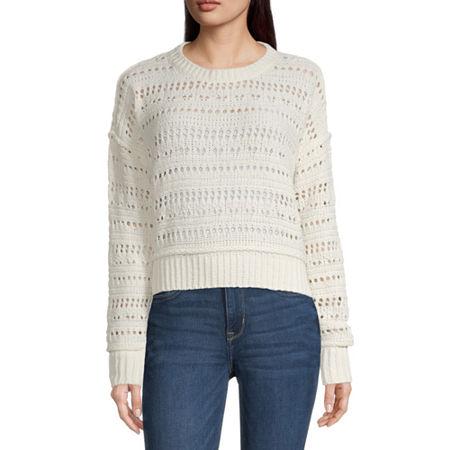 Arizona Juniors Womens Crew Neck Long Sleeve Sweater, Small , White