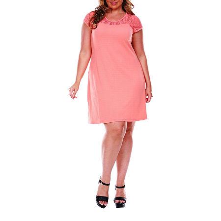 White Mark-Plus Short Sleeve Sheath Dress, 3x , Orange