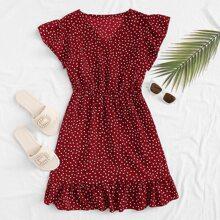 V-neck Ruffle Hem Polka Dot A-line Dress