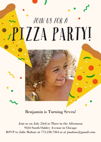 Kids Birthday Party Invites Flat Glossy Photo Paper Cards with Envelopes, 5x7, Card & Stationery -Pizza Party Invite