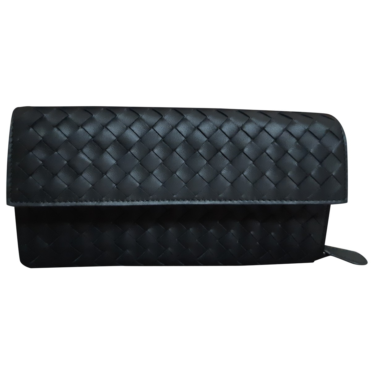 Bottega Veneta - Portefeuille Intrecciato pour femme en cuir - noir