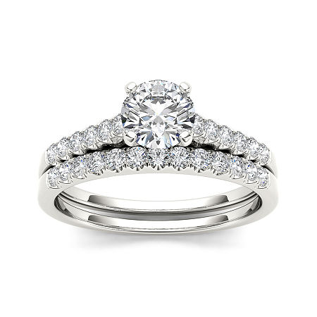 1 CT. T.W. Diamond 10K White Gold Bridal Ring Set, 6 , No Color Family