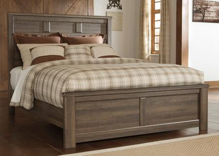 Juararo B251-54/57/98 Queen Size Panel Bed with Replicated Oak Grain Details  Vintage Aged Rough Sawn Finish and Raised Panel Details in Dark