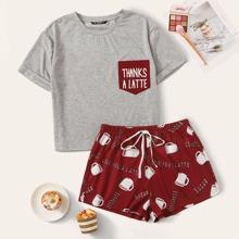 Conjunto de pijama top con slogan de puño de doblez con shorts con estampado