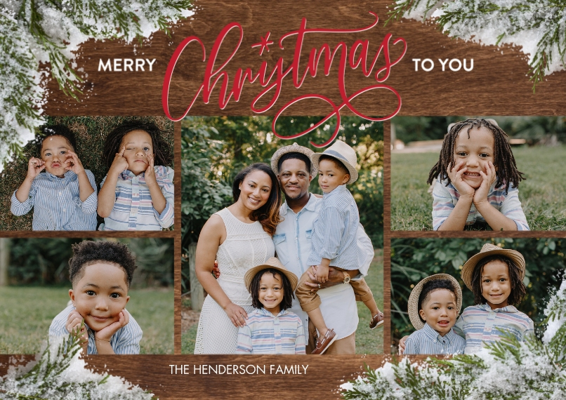 Christmas Photo Cards Flat Glossy Photo Paper Cards with Envelopes, 5x7, Card & Stationery -Christmas Red Script Evergreens by Tumbalina