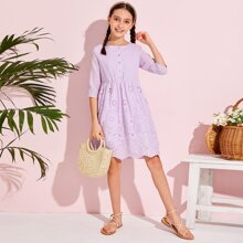 Girls Buttoned Front Eyelet Embroidery Dress